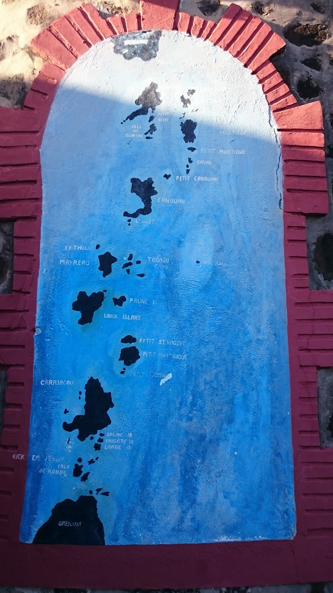 Grenadines Map painted on church wall in Mayreau