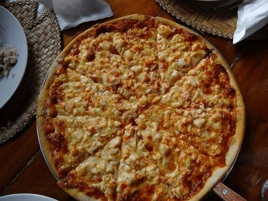 Pizza pie at Mac's Pizza, Bequia